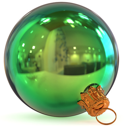Christmas ball decoration green New Years Eve bauble hanging adornment traditional Happy Merry Xmas wintertime ornament polished closeup. 3d rendering illustration Stock Photo