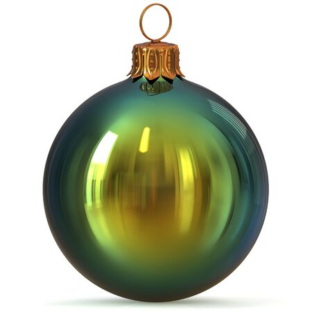 Christmas ball green New Years Eve bauble decoration closeup hanging adornment traditional Happy Merry Xmas wintertime ornament polished. 3d rendering illustration