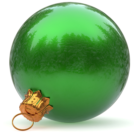 Christmas ball decoration green bauble closeup Happy New Years Eve hanging adornment polished traditional Merry Xmas wintertime ornament sparkling. 3d rendering illustration Stock Photo