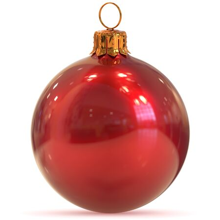 Christmas ball decoration red closeup New Years Eve bauble hanging adornment traditional Happy Merry Xmas wintertime ornament polished. 3d rendering illustration Stock Photo