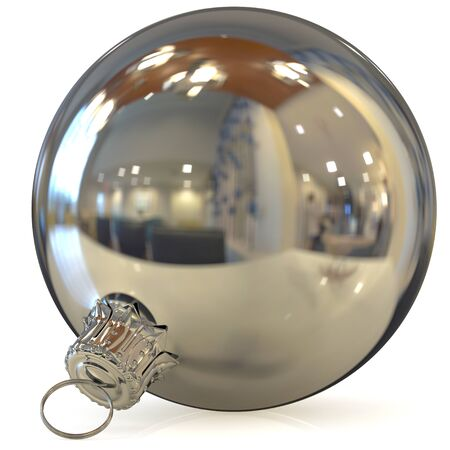 Christmas ball decoration silver New Years Eve bauble hanging white metallic adornment traditional Happy Merry Xmas wintertime ornament polished closeup. 3d rendering illustration