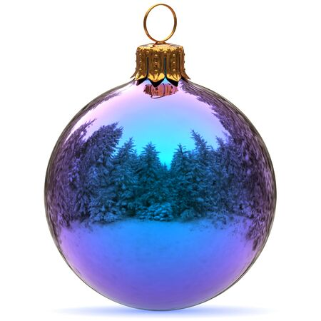 Christmas ball decoration blue bauble Happy New Years Eve hanging adornment traditional Merry Xmas wintertime ornament sparkling closeup. 3d rendering illustration