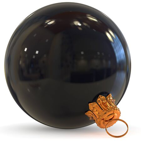 Christmas ball black decoration closeup Happy New Years Eve bauble hanging adornment traditional Merry Xmas wintertime ornament. 3d rendering illustration