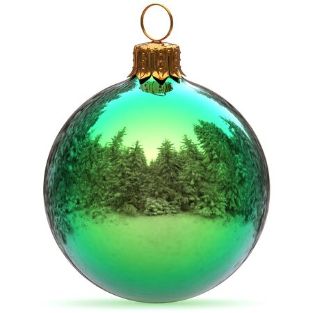 Christmas ball green closeup decoration polished bauble Happy New Years Eve hanging adornment traditional Merry Xmas wintertime ornament excellent. 3d rendering illustration Stock Photo