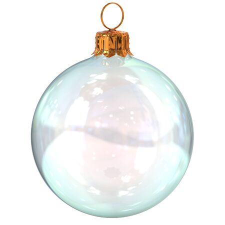 Christmas ball glass white clean translucent closeup New Years Eve decoration bauble hanging adornment traditional Happy Merry Xmas wintertime ornament. 3d rendering illustration Stock Photo