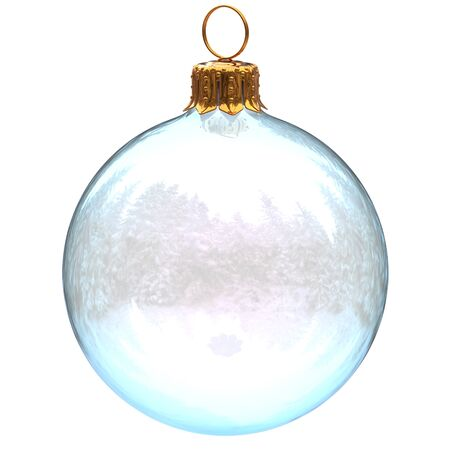 Christmas ball glass decoration white clean translucent closeup New Years Eve bauble hanging adornment traditional Happy Merry Xmas wintertime ornament. 3d rendering illustration