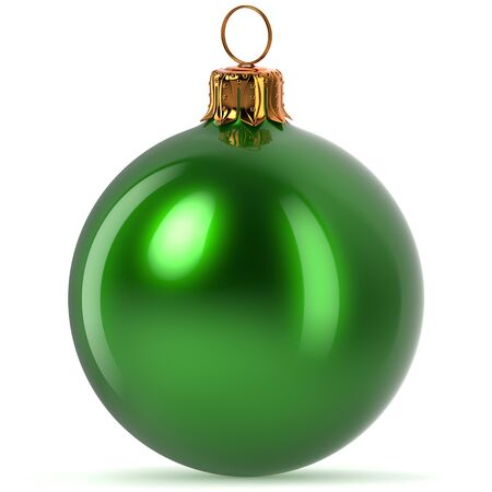 Christmas ball decoration green Happy New Years Eve hanging bauble adornment traditional Merry Xmas wintertime ornament polished closeup. 3d rendering illustration