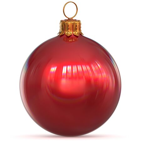 Red Christmas ball decoration bauble closeup New Years Eve hanging adornment traditional Happy Merry Xmas wintertime ornament polished. 3d rendering illustration
