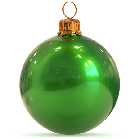 New Years Eve bauble hanging adornment traditional Happy Merry Xmas wintertime ornament polished excellent sparkling. 3d rendering illustration