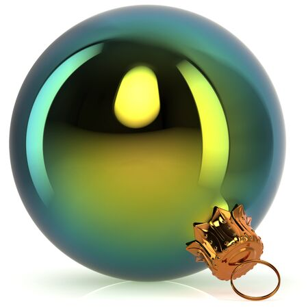 Christmas ball decoration green polished closeup New Years Eve bauble hanging adornment traditional Happy Merry Xmas wintertime ornament. 3d rendering illustration