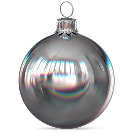 Christmas ball silver decoration closeup New Years Eve bauble hanging adornment traditional Happy Merry Xmas wintertime ornament white chrome polished. 3d rendering illustration