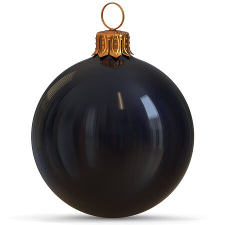 Christmas ball decoration black New Years Eve bauble hanging adornment traditional Happy Merry Xmas wintertime ornament polished closeup. 3d rendering illustration