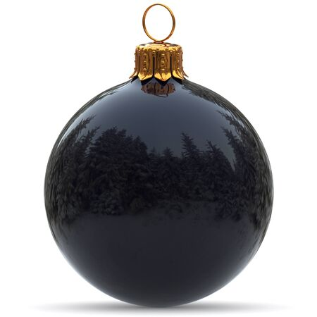 Christmas ball decoration black polished closeup Happy New Years Eve hanging bauble adornment traditional Merry Xmas wintertime ornament excellent. 3d rendering illustration