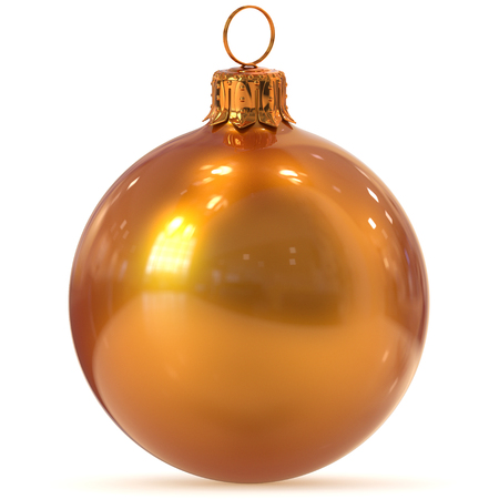 Christmas ball decoration golden orange New Years Eve hanging bauble adornment traditional Happy Merry Xmas wintertime ornament shiny polished. 3d rendering illustration