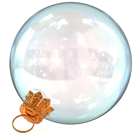 Christmas ball white decoration clean glass translucent Happy New Years Eve hanging bauble adornment traditional Merry Xmas wintertime ornament closeup. 3d rendering illustration Stock Photo