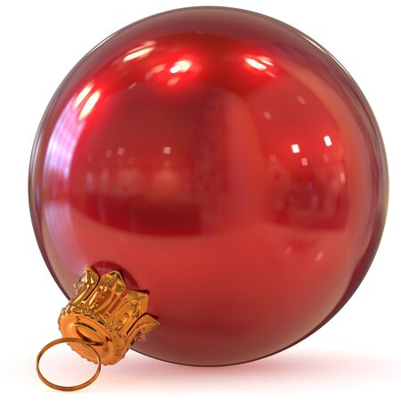 Christmas ball red decoration New Years Eve hanging bauble adornment traditional Happy Merry Xmas wintertime ornament polished closeup. 3d rendering illustration Stock Photo