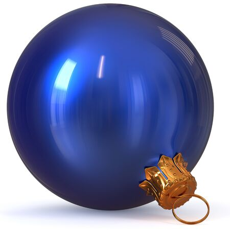 Christmas ball blue decoration New Years Eve bauble hanging adornment traditional Happy Merry Xmas wintertime ornament polished closeup. 3d rendering illustration
