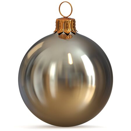 Christmas ball silver white metallic decoration closeup New Years Eve bauble hanging adornment traditional Happy Merry Xmas wintertime ornament excellent. 3d rendering illustration Stock Photo