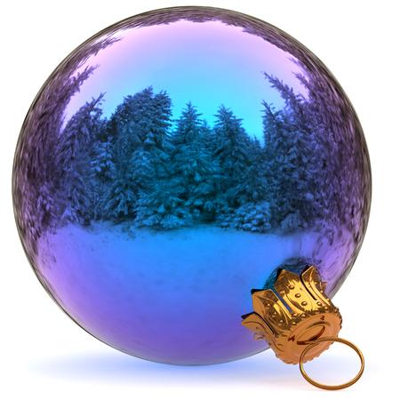 ottimo: Decorazione di palla di Natale blu closeup Felice anno nuovo appeso ornamento bauble tradizionale Merry Xmas wintertime ornamento lucido. Illustrazione di rendering 3D