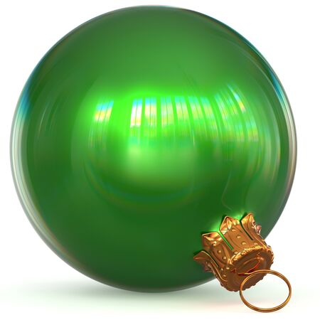 Green Christmas ball decoration bauble closeup Happy New Years Eve hanging adornment polished traditional Merry Xmas wintertime ornament sparkling. 3d rendering illustration Stock Photo