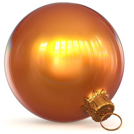 Orange golden Christmas ball decoration New Years Eve hanging bauble adornment traditional Happy Merry Xmas wintertime ornament shiny polished. 3d rendering illustration