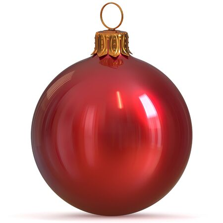 3d rendering Christmas ball red decoration bauble closeup New Years Eve hanging adornment traditional Happy Merry Xmas wintertime ornament polished