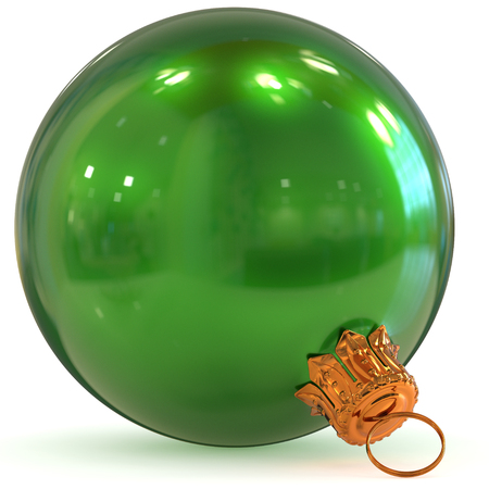3d rendering green Christmas ball decoration bauble closeup Happy New Years Eve hanging adornment polished traditional Merry Xmas wintertime ornament sparkling