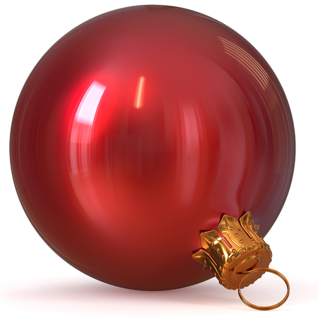 3d rendering red Christmas ball decoration New Years Eve hanging bauble adornment traditional Happy Merry Xmas wintertime ornament polished closeup Stock Photo