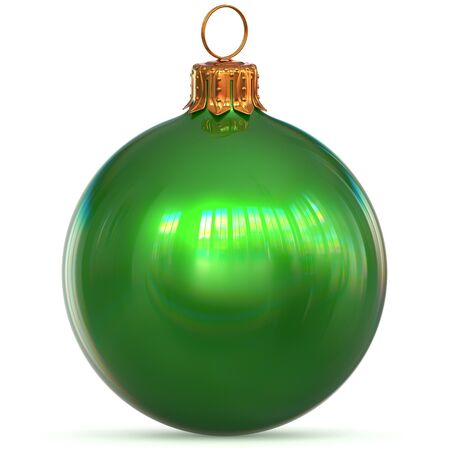 3d rendering Christmas ball green New Years Eve bauble hanging adornment traditional Happy Merry Xmas wintertime ornament polished excellent sparkling Stock Photo