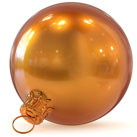 3d rendering Christmas ball golden orange decoration New Years Eve hanging bauble adornment traditional Happy Merry Xmas wintertime ornament shiny closeup