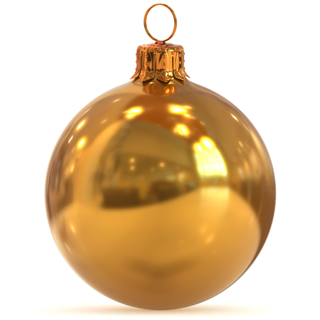 3d rendering golden Christmas ball decoration New Years Eve hanging bauble adornment traditional Happy Merry Xmas wintertime ornament yellow shiny polished