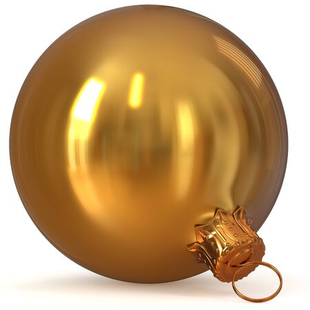 3d rendering golden Christmas ball decoration closeup New Years Eve hanging bauble adornment traditional Merry Xmas wintertime ornament yellow shiny polished. illustration