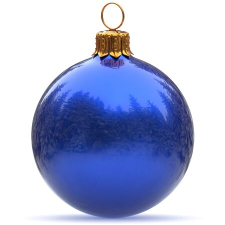 3d rendering Christmas ball blue decoration polished bauble closeup Happy New Years Eve hanging adornment traditional Merry Xmas wintertime ornament excellent