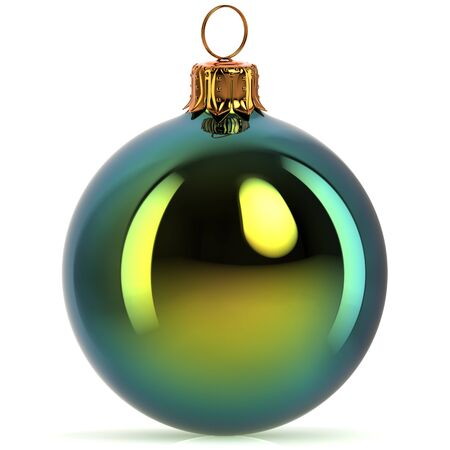 3d rendering Christmas ball decoration green New Years Eve hanging bauble adornment traditional Happy Merry Xmas wintertime ornament polished closeup