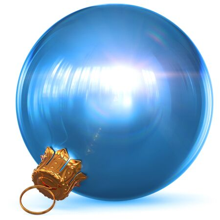 Christmas ball decoration blue New Years Eve bauble hanging adornment traditional Happy Merry Xmas wintertime ornament sparkling bright flare closeup. 3d rendering illustration