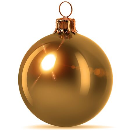 Christmas ball golden decoration New Years Eve hanging bauble adornment traditional Merry Xmas ornament sparkling yellow. 3d rendering illustration