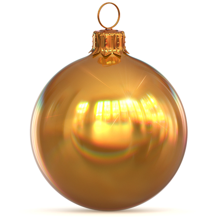Golden Christmas ball decoration New Years Eve hanging bauble adornment traditional Happy Merry Xmas ornament sparkling yellow. 3d rendering illustration Stock Photo