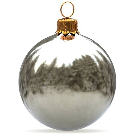 Christmas ball white silver decoration bauble closeup New Years Eve hanging adornment traditional Merry Xmas wintertime ornament metallic. 3d rendering illustration