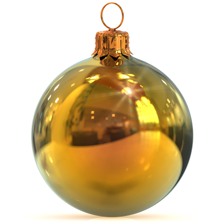 Christmas ball golden decoration New Years Eve hanging bauble adornment traditional Happy Merry Xmas ornament shiny polished. 3d rendering illustration