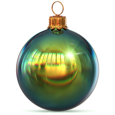 Christmas ball green decoration closeup New Years Eve hanging bauble adornment polished traditional Merry Xmas wintertime ornament sparkling. 3d rendering illustration Stock Photo