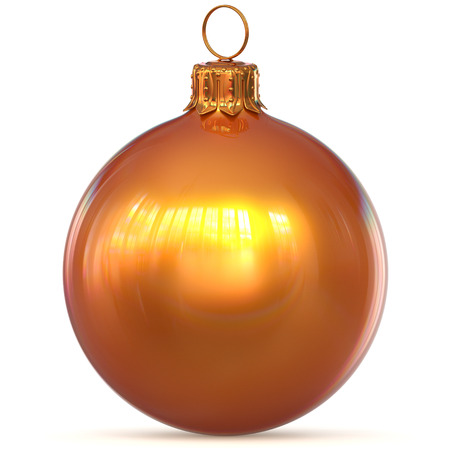 Christmas ball golden orange decoration New Years Eve hanging bauble adornment traditional Merry Xmas ornament sparkling. 3d rendering illustration Stock Photo