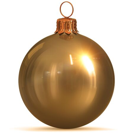 Golden Christmas ball decoration gold yellow New Years Eve hanging bauble adornment traditional Merry Xmas wintertime ornament sparkling polished. 3d rendering illustration