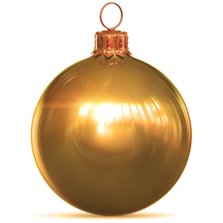 Christmas ball gold golden decoration yellow New Years Eve hanging bauble adornment traditional Happy Merry Xmas wintertime ornament sparkling shiny. 3d rendering illustration