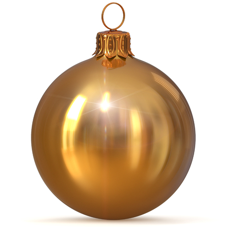 Christmas ball decoration golden yellow New Years Eve hanging bauble adornment traditional Merry Xmas wintertime ornament sparkling polished. 3d rendering illustration
