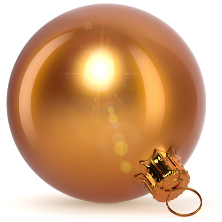 Christmas ball golden yellow decoration closeup New Years Eve bauble hanging adornment Merry Xmas ornament polished. 3d rendering illustration Stock Photo