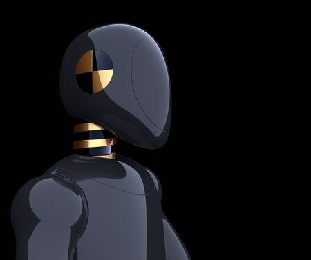 Robot futuristic black cyborg bot android crush test dummy character concept. 3d illustration isolated on black background
