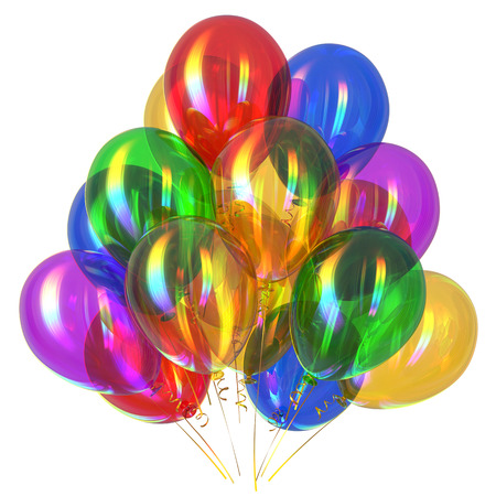 Happy birthday balloons party decoration multicolored translucent glossy. Holiday anniversary celebration greeting card background. 3d rendering illustration