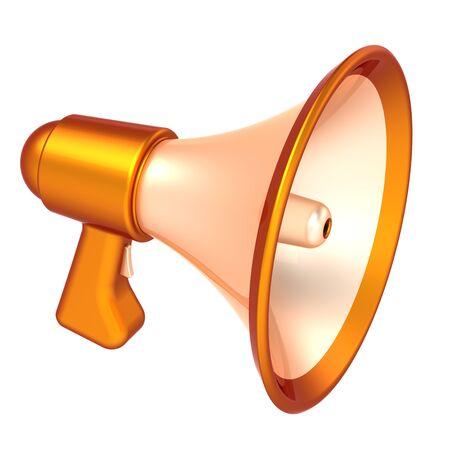Megaphone news blog communication announce declaration symbol. Bullhorn loudspeaker basic orange. Propaganda public agitation advertising sale message concept. 3d illustration Stock Photo