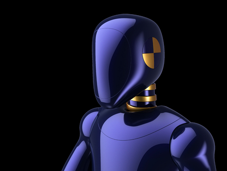 Cyborg portrait robot futuristic android crush test dummy electronic technology character concept. 3d illustration isolated on black background