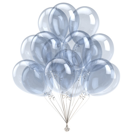 3d illustration of white balloon happy birthday party decoration glossy translucent balloons bunch. Holiday anniversary celebrate invitation greeting card Stock Photo